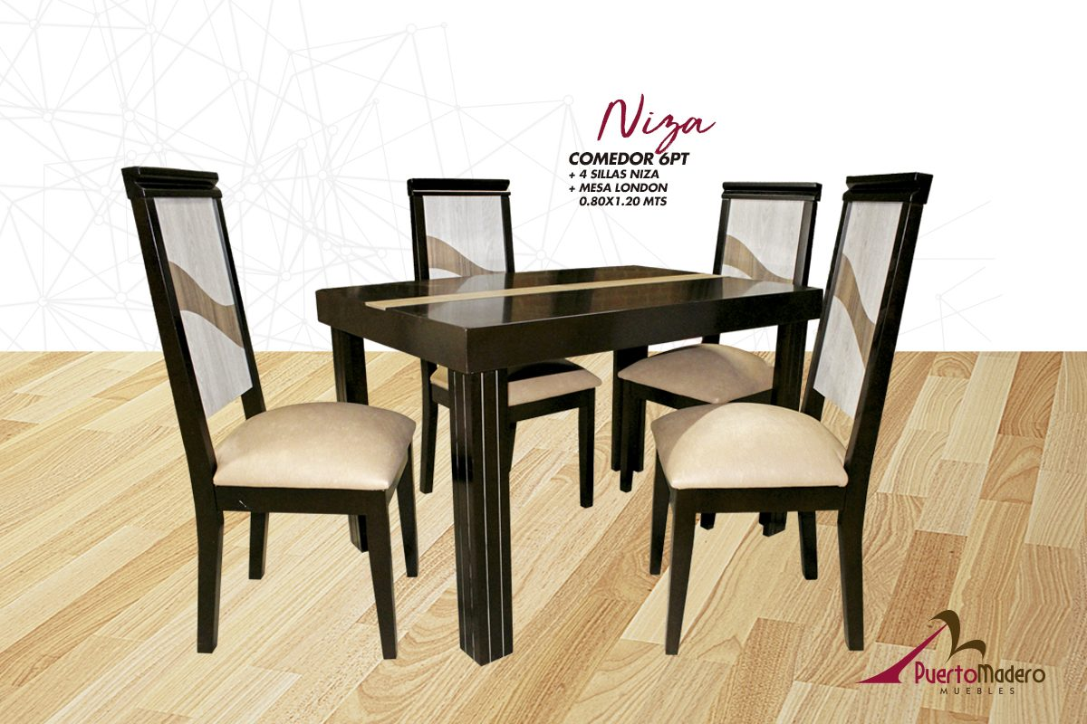 Comedor Mesa London 4pts Sillas Niza